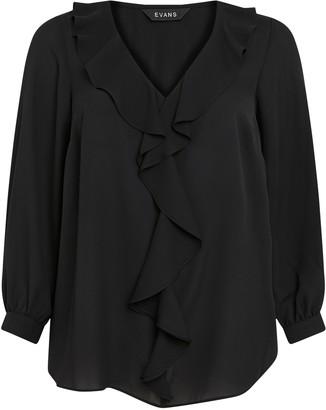 Evans Black Frill Long Sleeve Top