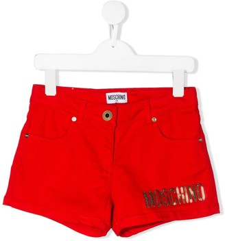 MOSCHINO BAMBINO Sequinned Logo Shorts