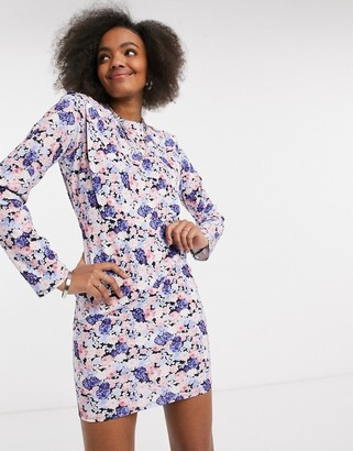ASOS DESIGN padded shoulder long sleeve mini dress with tie back in lilac and blue floral