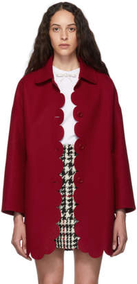 RED Valentino Red Wool Scallop Coat