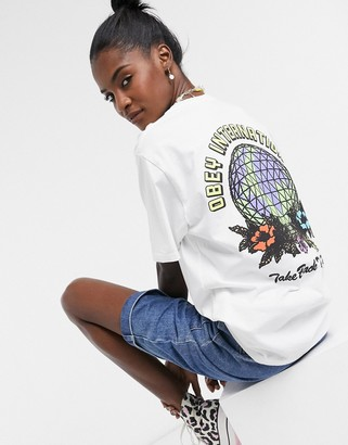 Obey oversized t-shirt with take back the planet graphic