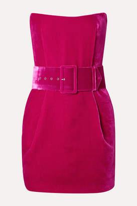 Rasario Strapless Belted Velvet Mini Dress - Magenta