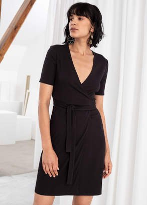 And other stories Stretchy Ribbed Wrap Dress