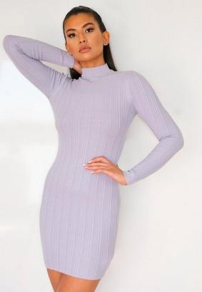 Missguided Lilac Skinny Rib High Neck Knit Mini Dress
