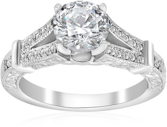 Pompeii3 14K White Gold 1 3/4 ct TDW Diamond Clarity Enhanced Vintage Engagement Antique Style Ring
