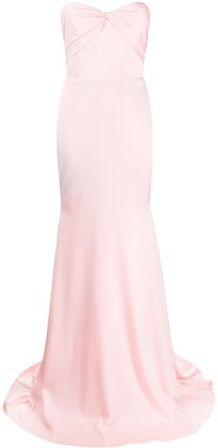 Alex Perry Satin Wrap Bodice Gown