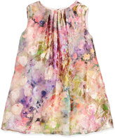 Helena Sleeveless Floral Watercolor Shift Dress, Pink, Size 4-6