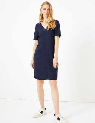 Marks and Spencer Linen V-Neck Shift Dress
