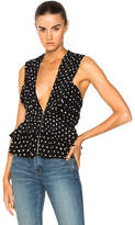 Saint Laurent Polka Dot Drape Top