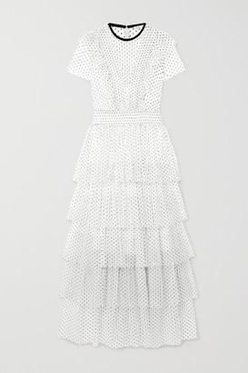 Maje Tiered Ruffled Swiss-dot Tulle Maxi Dress - White