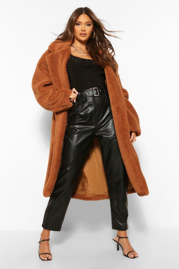 Thumbnail for your product : boohoo Faux Teddy Fur Belted Coat