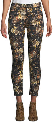 7 For All Mankind Jen7 By Autumn Dusk Floral-Print Skinny Ankle Jeans