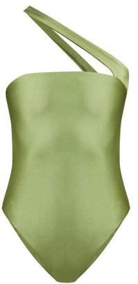 JADE SWIM Halo One-shoulder Cutout Swimsuit - Womens - Green