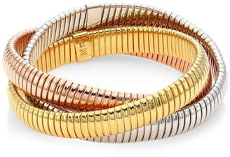 Bagutta Via 18K Yellow, White & Rose Gold Ribbed Bangle Bracelet/0.40""