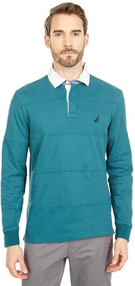 Nautica Stripe Stitched Long Sleeve Polo (Deep Atlantic) Men's Long Sleeve Pullover