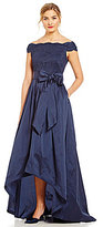 Adrianna Papell Scalloped Lace Off-the-Shoulder Hi-Low Gown