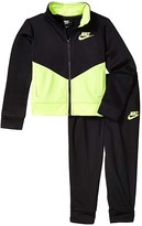 Nike Color Block Full Zip Jacket and Jogger Pants Two-Piece Track Set (Toddler) (Black/Volt) Boy's Active Sets
