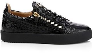 Giuseppe Zanotti Crocodile Embossed Leather Platform Sneakers