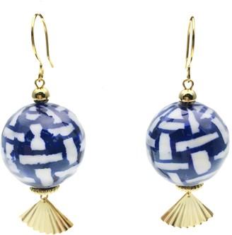 Farra White & Blue Ceramic Ball Earrings