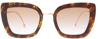 Fendi Ff-logo Cat-eye Acetate And Metal Sunglasses - Tortoiseshell