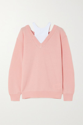 Alexander Wang Layered Merino Wool And Stretch-cotton Jersey Sweater - Peach