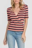 Lush Striped Wrap Top