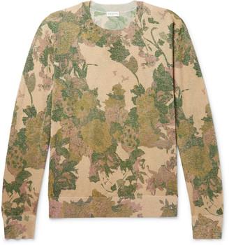 Dries Van Noten Metallic Floral-Print Knitted Sweater