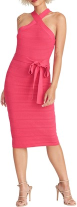 Rachel Roy Halter Neck Tie Waist Sweater Dress