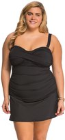 Anne Cole Plus Size Color Blast Solid Twist Front Shirred Swimdress 8137520