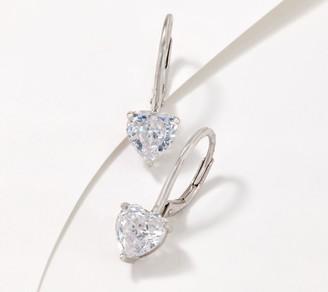 Diamonique 100-Facet Heart Cut Lever Back Earrings, Sterling Silver