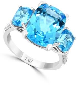Macy's Lali Jewels Swiss Blue Topaz (10-1/6 ct. t.w.) & Diamond (1/10 ct. t.w.) in 14k White Gold
