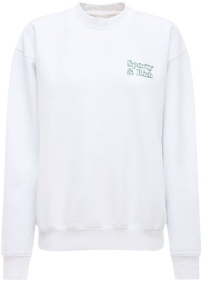 Sporty & Rich Asics Collab Cotton Crewneck Sweatshirt