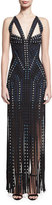Herve Leger Grommet-Embellished Sleeveless Bandage Gown with Fringe Skirt, Black