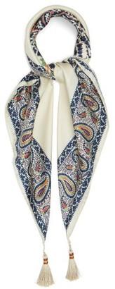 Etro Paisley-print Tasselled Silk-satin Scarf - Blue Multi