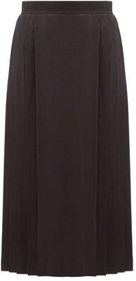 Fendi Leaf-jacquard Pleated Silk Skirt - Womens - Black