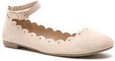 Qupid Nude Scallop Ankle-Strap Flat