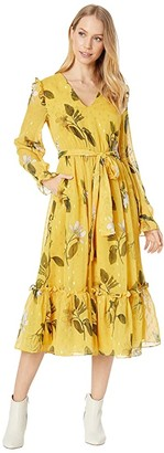 Ted Baker Elissea Savanna Day Dress with Neck Tie (Yellow) Women's Clothing