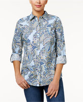 Charter Club Petite Paisley-Print Cotton Roll-Tab Shirt, Only at Macy's