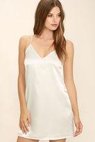LuLu*s Heavenly Ascent Cream Satin Slip Dress