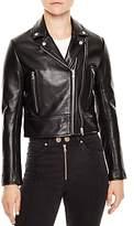 Sandro Cropped Leather Moto Jacket
