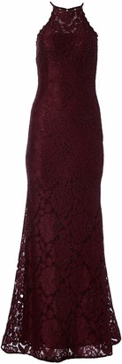 Betsy & Adam Women's Lace Halter Gown