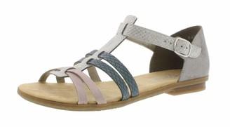 Rieker 64288 Women Strappy Sandals Summer Shoes Summer Comfortable Flat ice/rose/80 37 EU / 4 UK