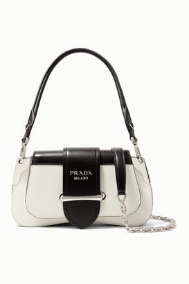 Prada Sidonie Mini Two-tone Leather Shoulder Bag - White