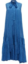 Rochas Pussy-bow Crinkled Satin Dress - Womens - Blue