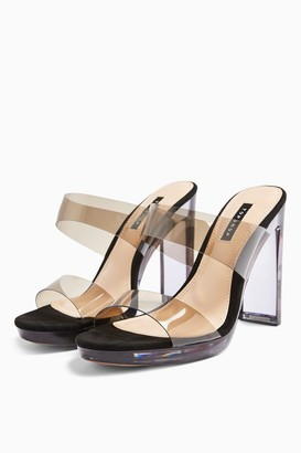 Topshop RIKKI Black Transparent Mules