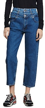 Sandro Kitty High-Rise Layer-Effect Jeans in Blue