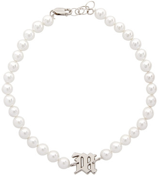 Misbhv Off-White Pearl Elastic Choker Necklace