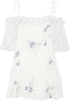 See by Chloe Off-the-shoulder printed fil coupé mini dress