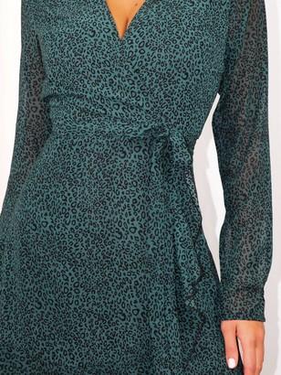 Missguided Ruffle Hem Wrap LeopardTea Dress - Teal