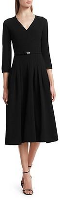 Ralph Lauren Raeana Belted Stretch Wool Dress